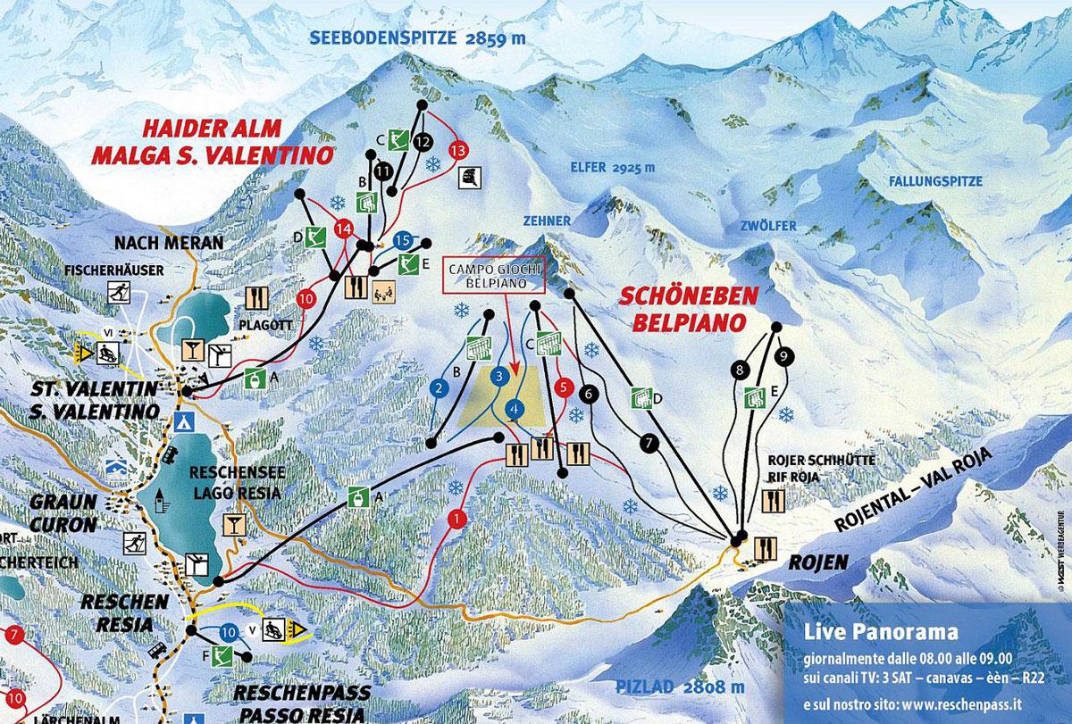 Skirama passo resia malga san valentino mappa piste sci for San valentino in italia